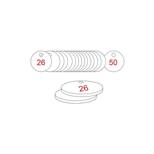 27mm Dia. Traffolite Tags Red / White (26 To 50)