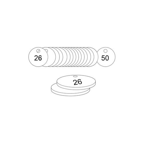 27mm Dia. Traffolite Tags White (26 To 50)