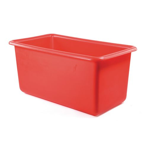 Rectangular Food Grade Plastic Storage Box With Tapered Sides 455L L1345xW730xH630mm Red