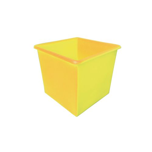 Rectangular Food Grade Plastic Storage Box With Tapered Sides 72L L460xW460xH435mm Yellow