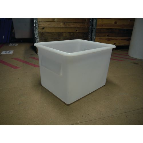 Rectangular Food Grade Plastic Storage Box With Tapered Sides 100L L630xW515xH440mm Transparent White