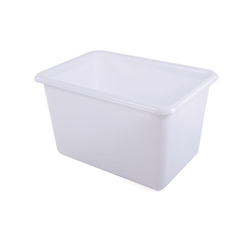 Rectangular Food Grade Plastic Storage Box With Tapered Sides 270L L915xW735xH515mm Transparent White