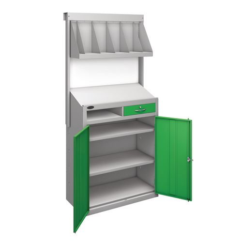 Workstation With Book Shelf With Green Doors  H1970mmxW965mmxD460mm