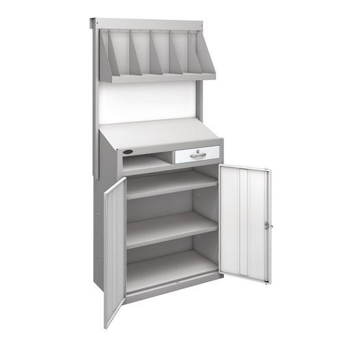 Workstation With Book Shelf With White Doors  H1970mmxW965mmxD460mm