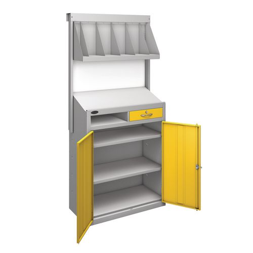 Workstation With Book Shelf With Yellow Doors  H1970mmxW965mmxD460mm