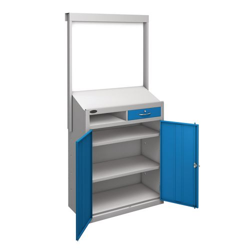 Information Workstation Whiteboard Sloping Top Drawer Cupboard With Blue Doors H x W x D mm: 1980 x 965 x 475