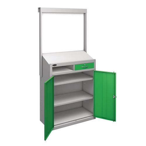 Information Workstation Whiteboard Sloping Top Drawer Cupboard With Green Doors H x W x D mm: 1980 x 965 x 475