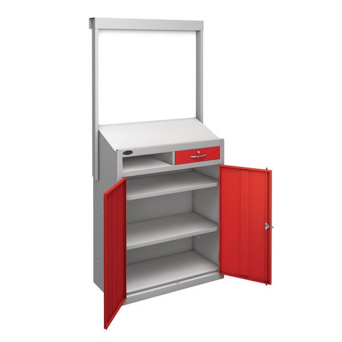 Information Workstation Whiteboard Sloping Top Drawer Cupboard With Red Doors H x W x D mm: 1980 x 965 x 475