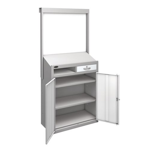 Information Workstation Whiteboard Sloping Top Drawer Cupboard With White Doors H x W x D mm: 1980 x 965 x 475