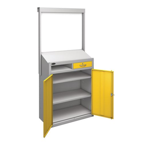 Information Workstation Whiteboard Sloping Top Drawer Cupboard With Yellow Doors H x W x D mm: 1980 x 965 x 475