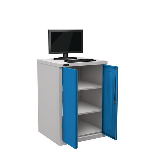 Flat Top Heavy Duty Computer Cupboard With Blue Doors H950mmxW650mmxD620mm