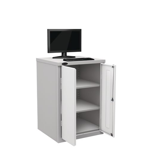 Flat Top Heavy Duty Computer Cupboard With White Doors H950mmxW650mmxD620mm