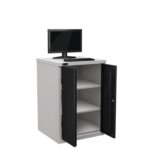 Flat Top Heavy Duty Computer Cupboard With Black Doors H950mmxW650mmxD620mm