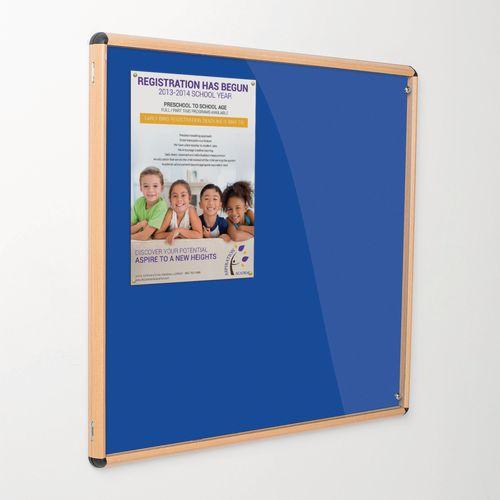 Shield Tamperproof Lockable Noticeboard Light Oak Effect Aluminium Frame 1200x1200 Royal Blue