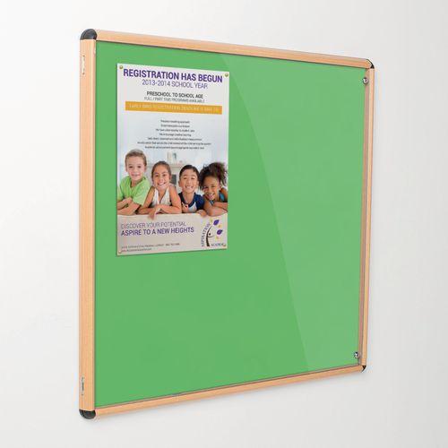 Shield Tamperproof Lockable Noticeboard Light Oak Effect Aluminium Frame 1200x1200 Apple Green