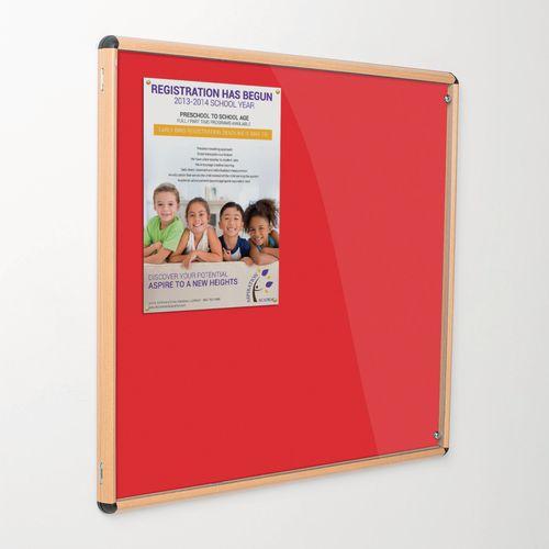 Shield Tamperproof Lockable Noticeboard Light Oak Effect Aluminium Frame 1200x1200 Scarlet Red