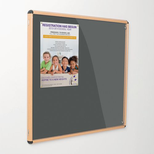 Shield Tamperproof Lockable Noticeboard Light Oak Effect Aluminium Frame 1200x1200 Gunmetal Grey
