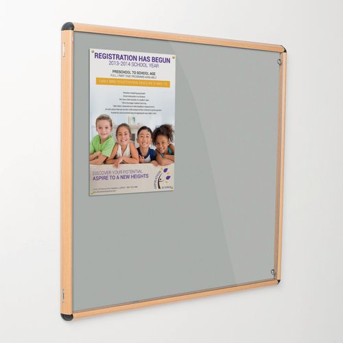 Shield Tamperproof Lockable Noticeboard Light Oak Effect Aluminium Frame 1200x1200 Light Grey