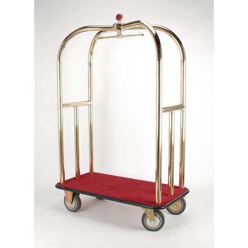 Crown Luggage Trolley Brass With Blue Carpeting