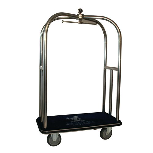 Crown Luggage Trolley Stainless Steel With Blue Carpeting