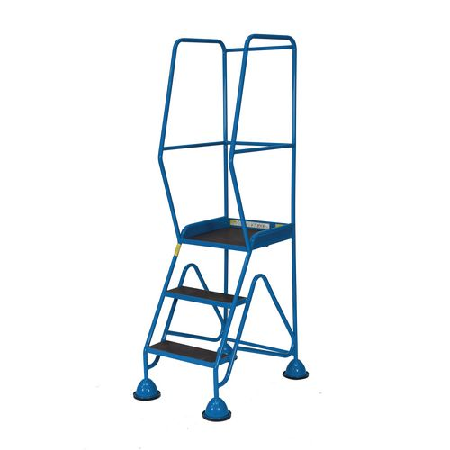 3 Tread High Rail Cup Step With Expanded Mild Steel Mesh Treads Blue