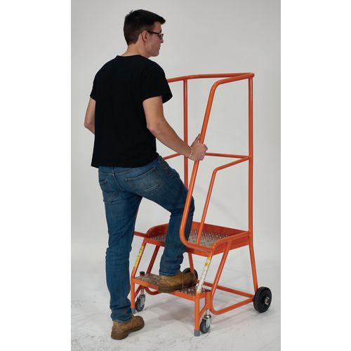 2 Tread Mobile Step With Phenolic Non-Slip Board Tread Orange