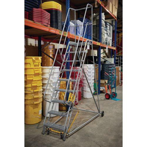 3 Tread Mobile Step With Aluminium Treads Orange