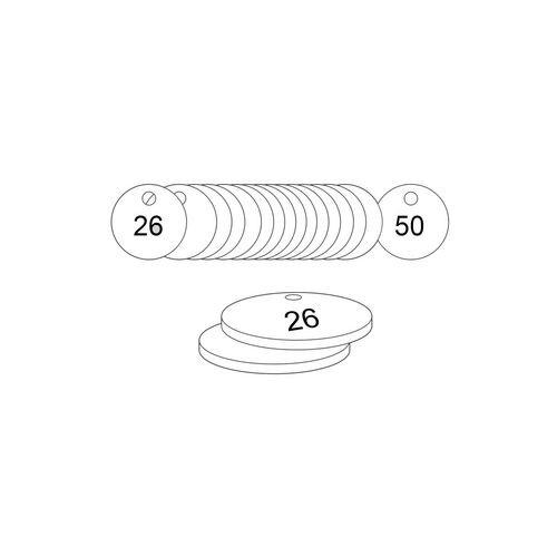 33mm Dia. Traffolite Tags White (26 To 50)