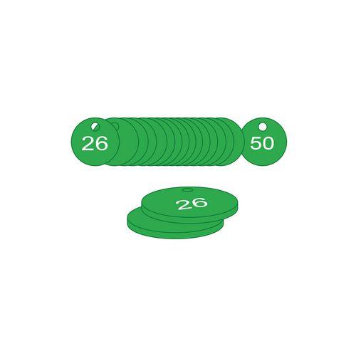 38mm Dia. Traffolite Tags Green (26 To 50)
