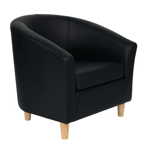 Classic Tub Chair Leather Look PU Upholstered With Wooden Leg Design Black