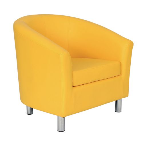 Classic Tub Chair Leather Look PU Upholstered With Metal Leg Design Yellow