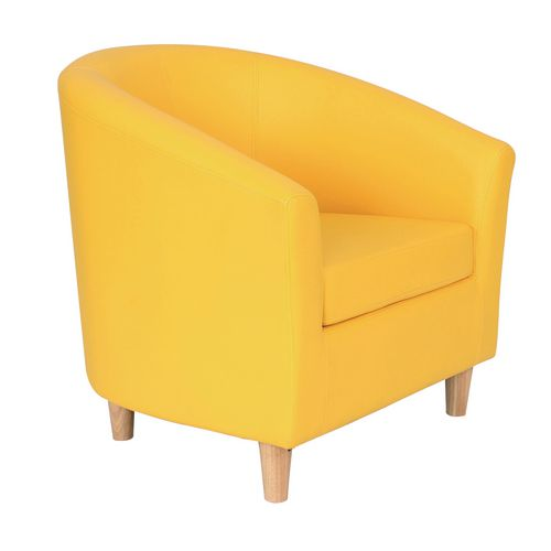 Classic Tub Chair Leather Look PU Upholstered With Wooden Leg Design Yellow