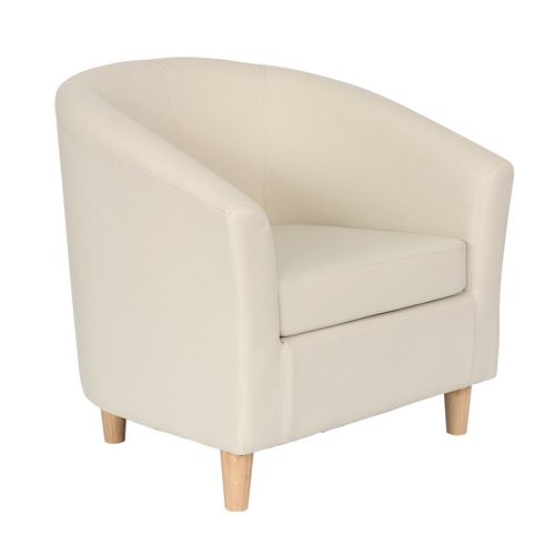 Classic Tub Chair Leather Look PU Upholstered With Wooden Leg Design Cream