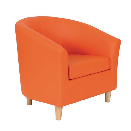 Classic Tub Chair Leather Look PU Upholstered With Wooden Leg Design Orange