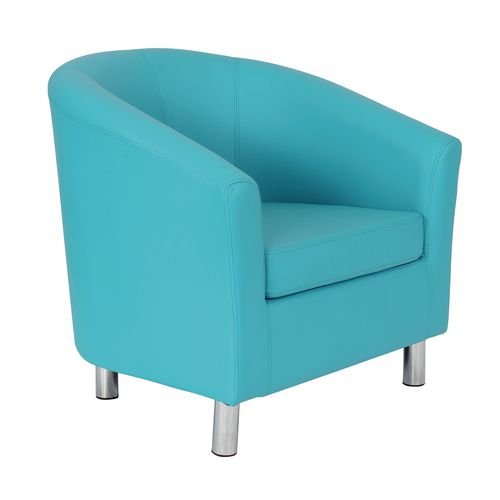 Classic Tub Chair Leather Look PU Upholstered With Metal Leg Design Sky Blue