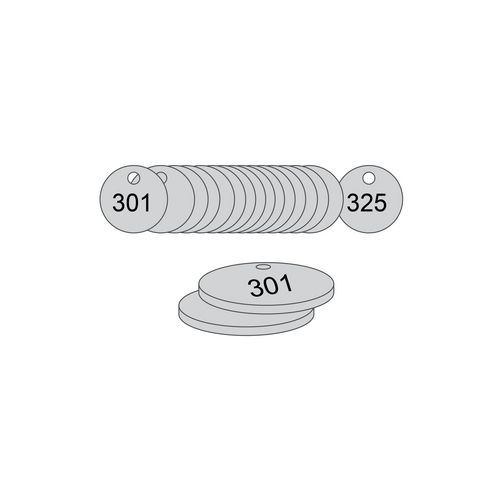 38mm Dia. Traffolite Tags Grey (301 To 325)
