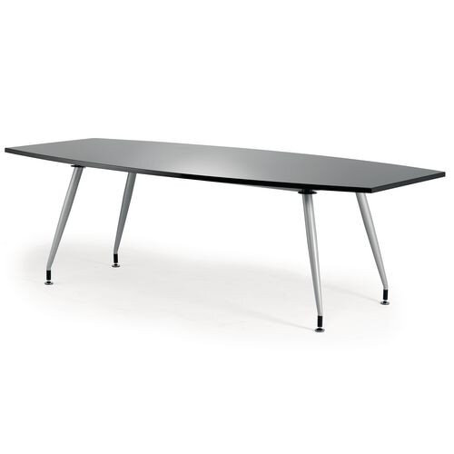 Boat Shaped High Gloss Boardroom Table W2400xD1200xH750mm Black