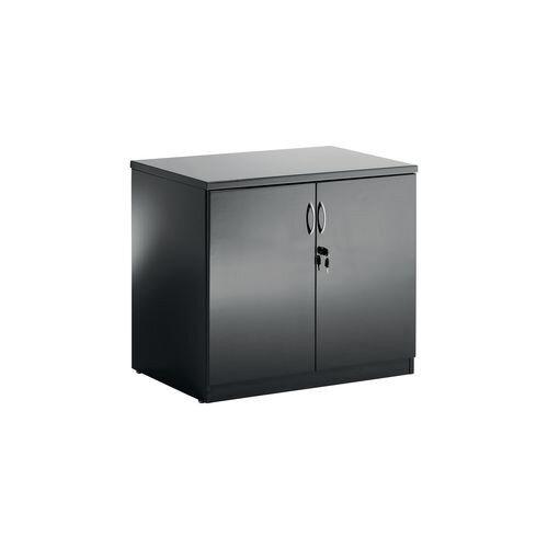 High Gloss Black Double Door Boardroom Credenza Cupboard W800xD600xH720mm