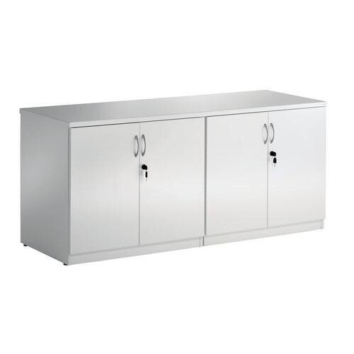 High Gloss White 2 x Double Door Boardroom Credenza Cupboards W1600xD600xH720mm