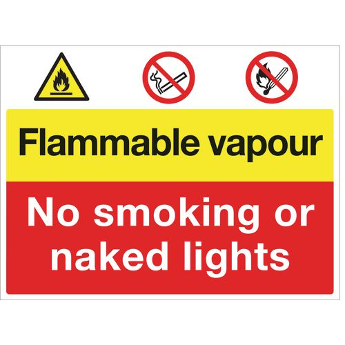 Sign Flammable Vapour No Smoking 600x450 Polycarb