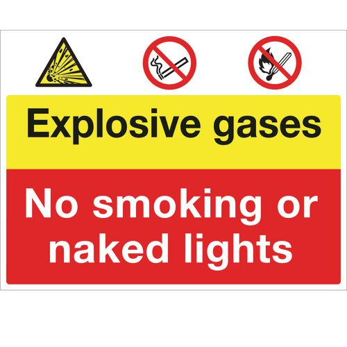 Sign Exposive Gases No Smoking 600x450 Polycarb