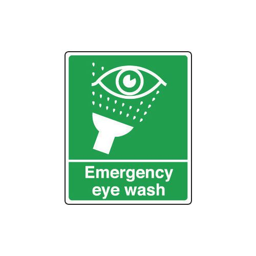 Sign Emergency Eye Wash 250x300 Polycarb