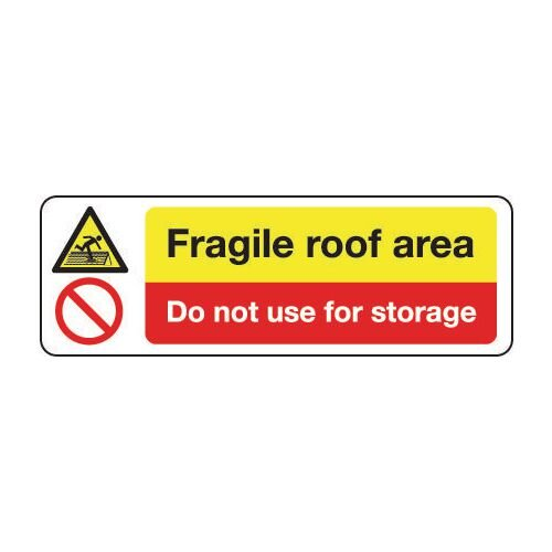 Sign Fragile Roof Area Do Not 300x100 Polycarb