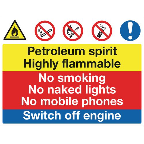 Sign Petroleum Spirit No Smoking 600x450 Polycarb