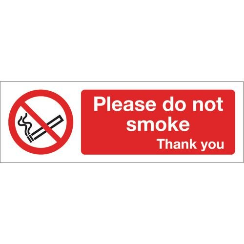 Sign Please Do Not Smoke 600x200 Polycarb