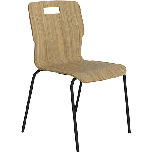 Titan Nurture 4 Leg Black Frame Classroom Chair 465mm Seat Height Acacia