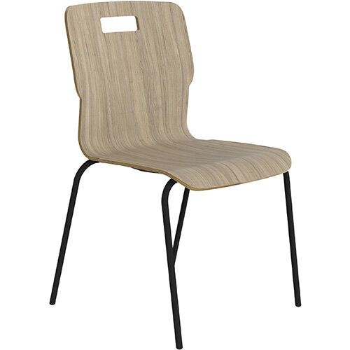 Titan Nurture 4 Leg Black Frame Classroom Chair 465mm Seat Height Grey Oak