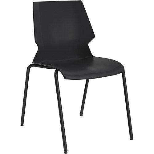 Titan Uni 4 Leg Classroom Chair 475mm Seat Height Grey Frame &Black Seat