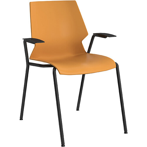 Titan Uni 4 Leg Classroom Chair with Arms 475mm Seat Height Grey Frame &Yellow Seat