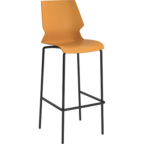 Titan Uni High Classroom Stool with Backrest 475mm Seat Height Grey Frame &Yellow Seat